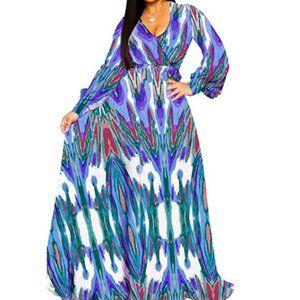 Women's Sexy Wrap V-Neck Long Sleeve Maxi Dress